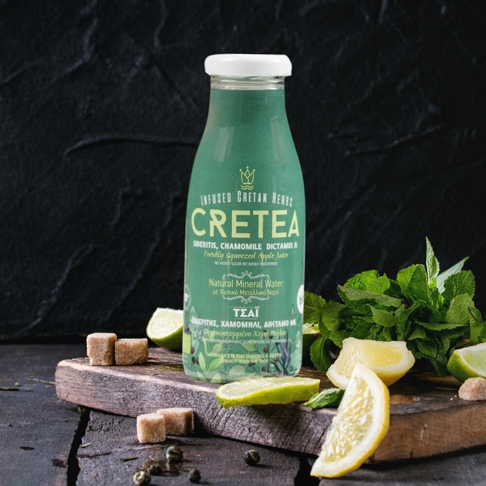 CRETEA BIO με Σιδερίτη, Χαμομήλι,Δίκταμο & φρεσκοστυμμένο χυμό μήλου 250ml.