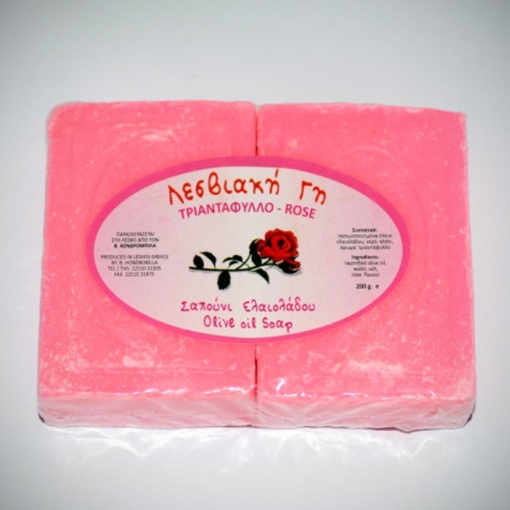 Λεσβιακή Γη Σαπούνι Ελαιόλαδου Τριαντάφυλλο 2*100gr