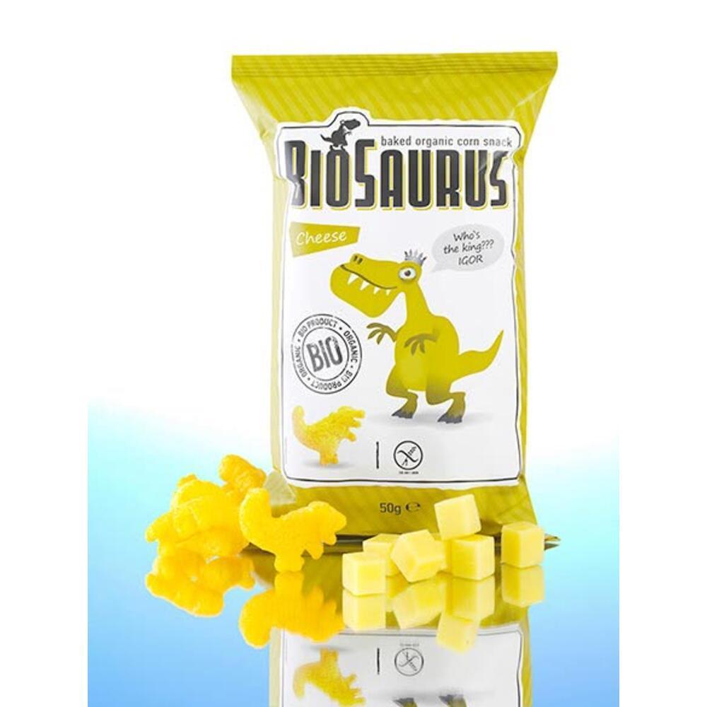 Biosaurus Παιδικά γαριδάκια Δεινόσαυρος με τυρί (χωρίς γλουτένη) 50gr