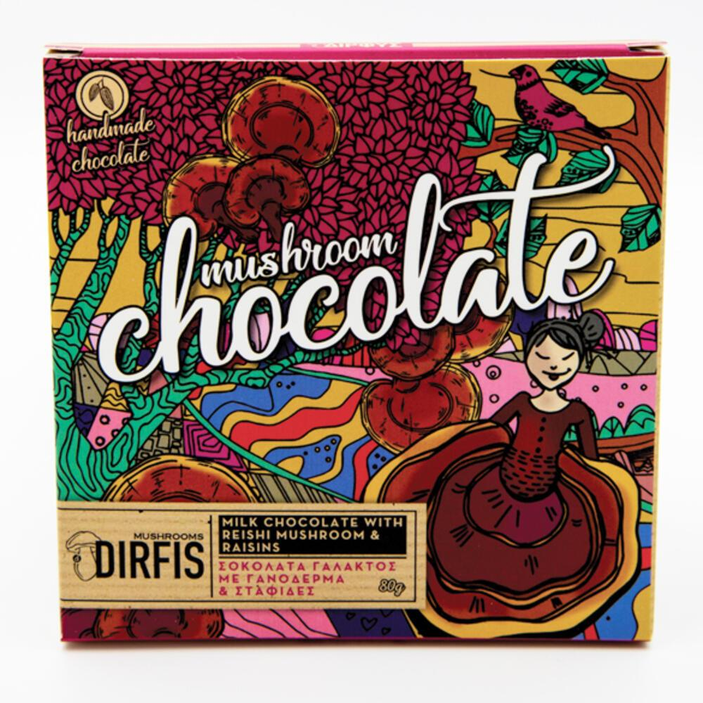 Σοκολάτα γάλακτος γανόδερμα & σταφίδα 80g