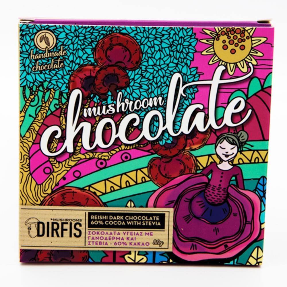Σοκολάτα Υγείας (60% κακάο) γανόδερμα στέβια 80g