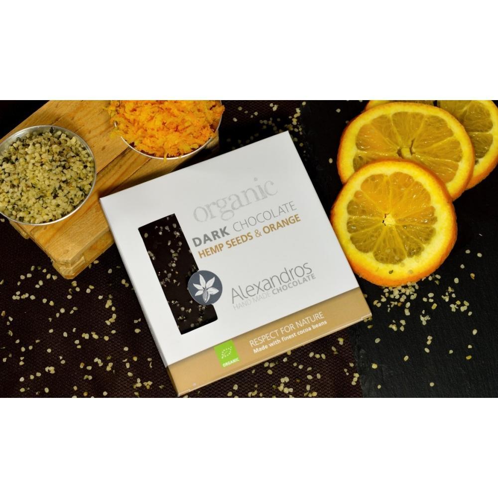 Βιολ.Σοκολάτα Υγείας με Σπόρους Κάνναβης και πορτοκάλι