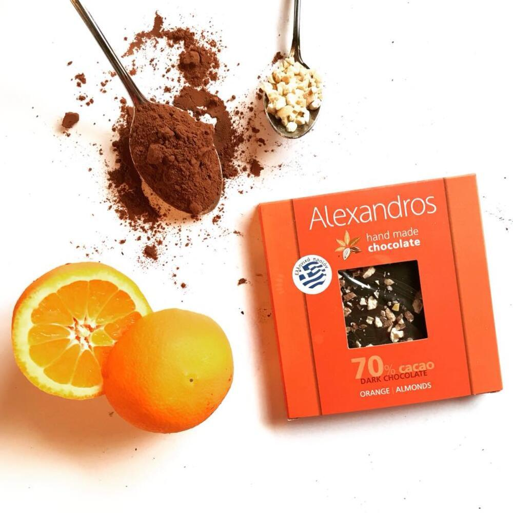 Σοκολάτα 70% κακάο με πορτοκάλι & αμύγδαλα